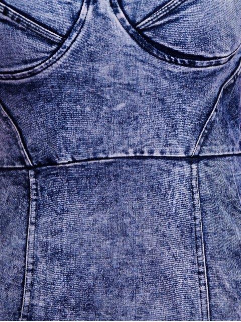 fashion Blue Denim Cami Bodycon Dress - DEEP BLUE L Mobile