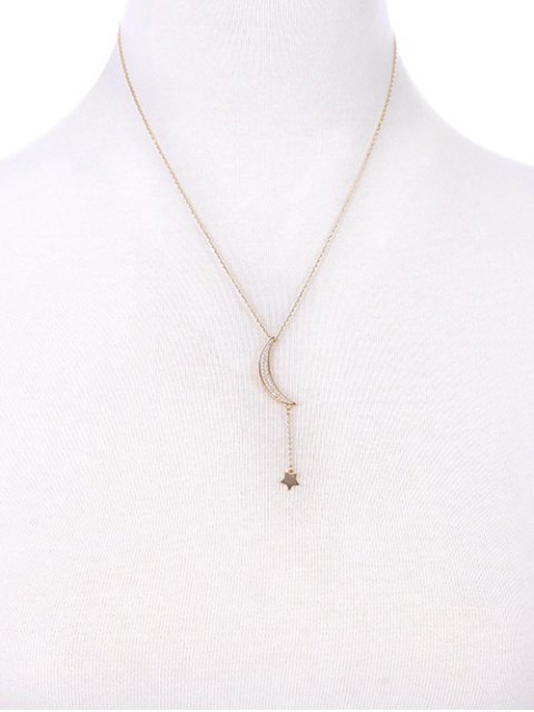 new Rhinestone Moon Star Pendant Necklace - GOLDEN  Mobile