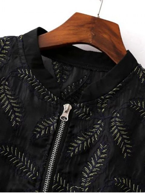 online Leaf Embroidered Pilot Jacket - BLACK S Mobile