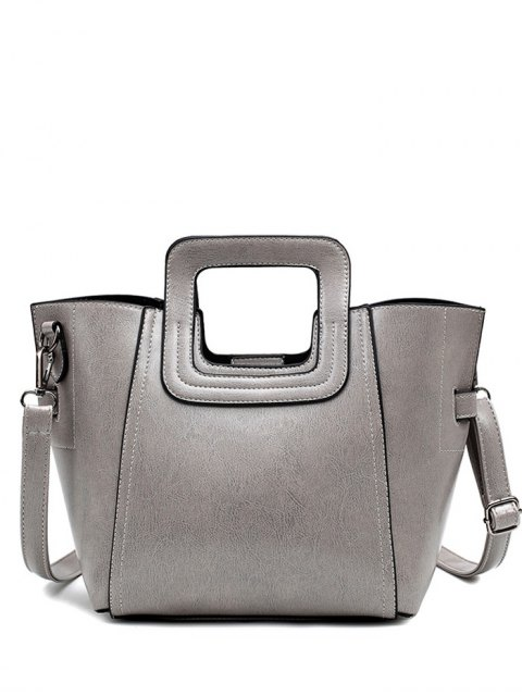 latest Stitching PU Leather Solid Colour Tote Bag - GRAY  Mobile