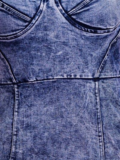 Blue Denim Cami Bodycon Dress - DEEP BLUE L Mobile