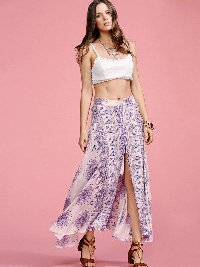 Ethnic Print High Waisted Slit Skirt - COLORMIX XL Mobile