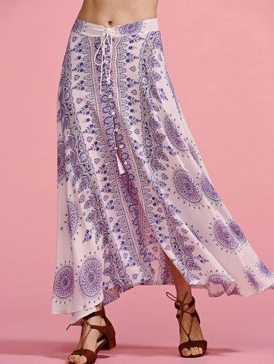 Ethnic Print High Waisted Slit Skirt - COLORMIX M Mobile