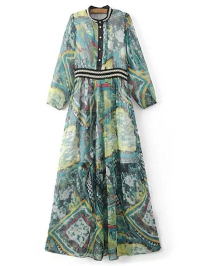 Beading Maxi Chiffon Dress - COLORMIX L Mobile