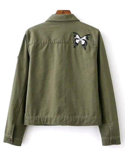 Butterfly Embroidery Shirt Collar Jacket от Zaful.com INT