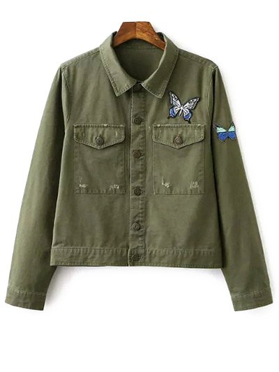 Butterfly Embroidery Shirt Collar Jacket - Army Green
