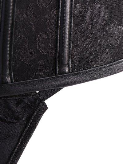Alloy Chain Steampunk Lace Up Corset - BLACK 4XL Mobile