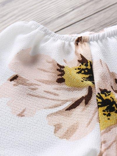 Floral Print Off The Shoulder Drawstring Romper - WHITE M Mobile