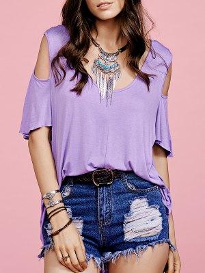 Purple Hollow Scoop Neck Short Sleeve T-Shirt - Purple