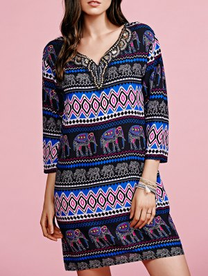 Print V-Neck 3/4 Sleeve Beaded Dress