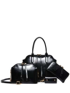 Zips Solid Color PU Leather Tote Bag - Black