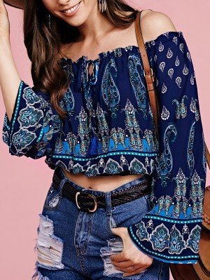 Bohemian Printed Off The Shoulder Cropped Blouse - Purplish Blue