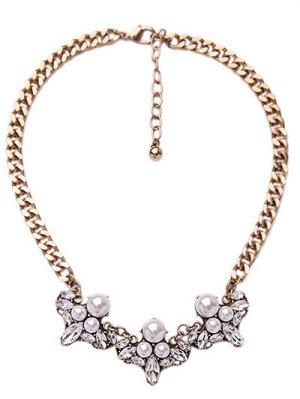 Faux Pearl Elegant Lady Necklace - Golden
