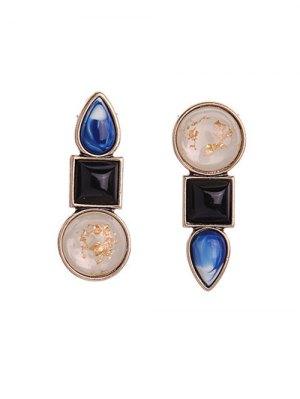 Faux Gem Asymmetric Earrings - Black