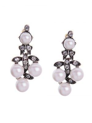 Faux Pearl Leaf Earrings - Pearl White