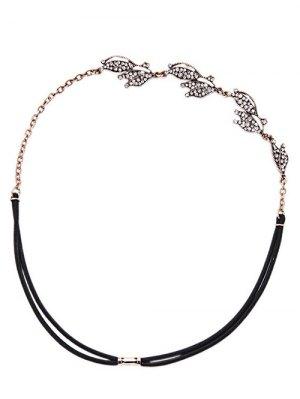 Rhinestone Leaf Headband - Black