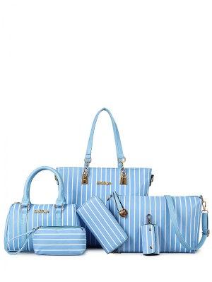 Striped Metal Letter Shoulder Bag - Azure