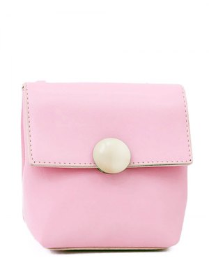 Metal Solid Color Stitching Crossbody Bag - Pink