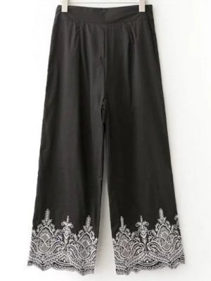 Embroidered Wide Leg Pants - Black