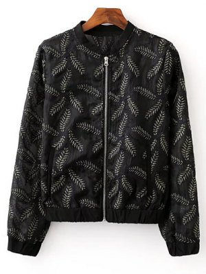 Leaf Embroidered Pilot Jacket - Black