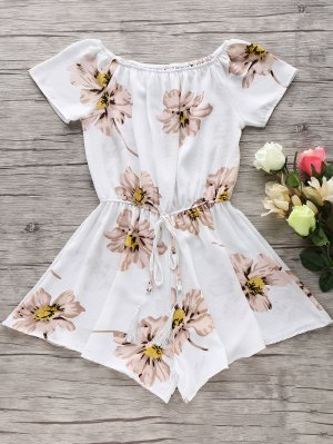 Floral Print Off The Shoulder Drawstring Romper - White