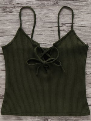 Solid Color Cami Lace Up Tank Top