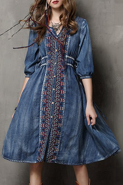V-Neck Half Sleeve Embroidered Single-Breasted Midi Denim Dress