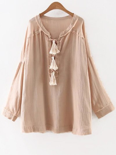 Round Neck Long Sleeve Tassels Solid Color Blouse