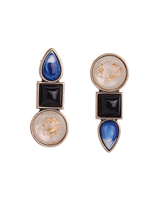 Faux Gem Asymmetric Earrings