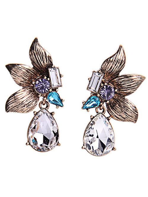 Rhinestone Symmetric Flower Earrings For Women