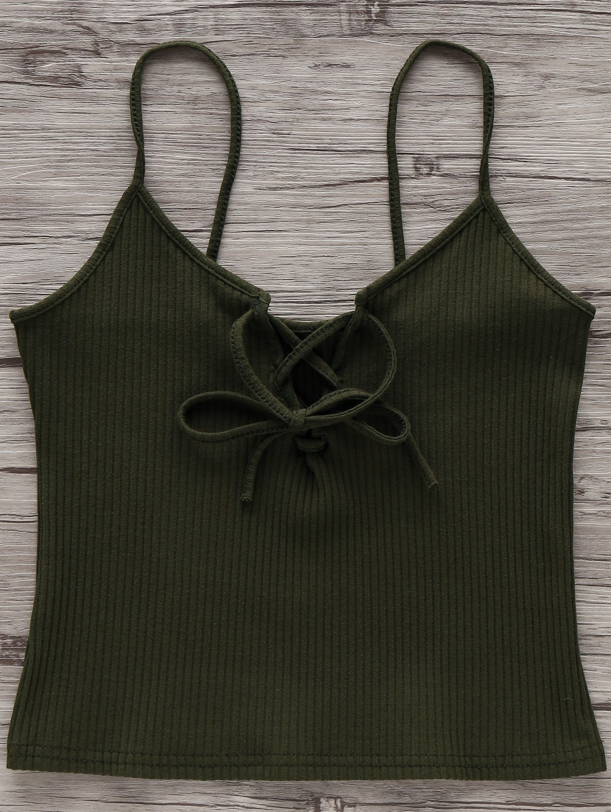 Cami Solid Color Lace Up Tank Top