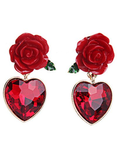 Rose Heart Faux Ruby Earrings