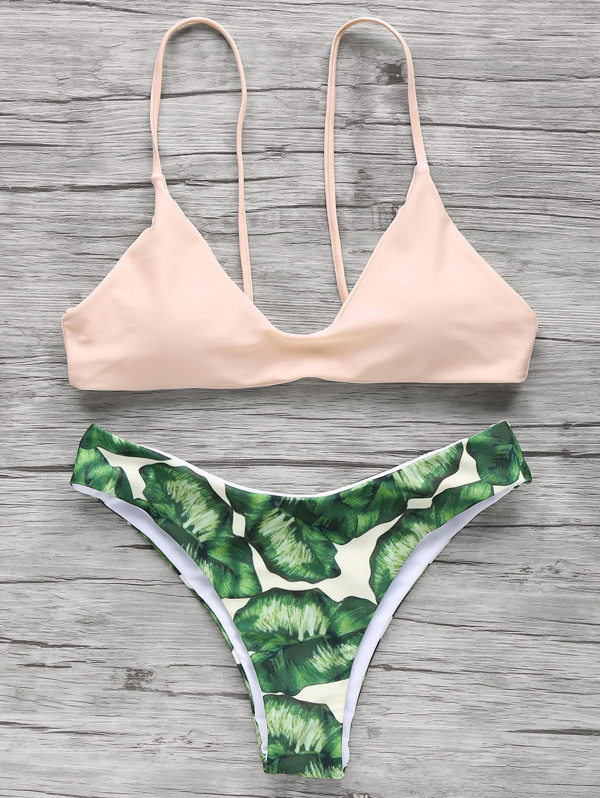 Palm Tree Spaghetti Straps Bikini