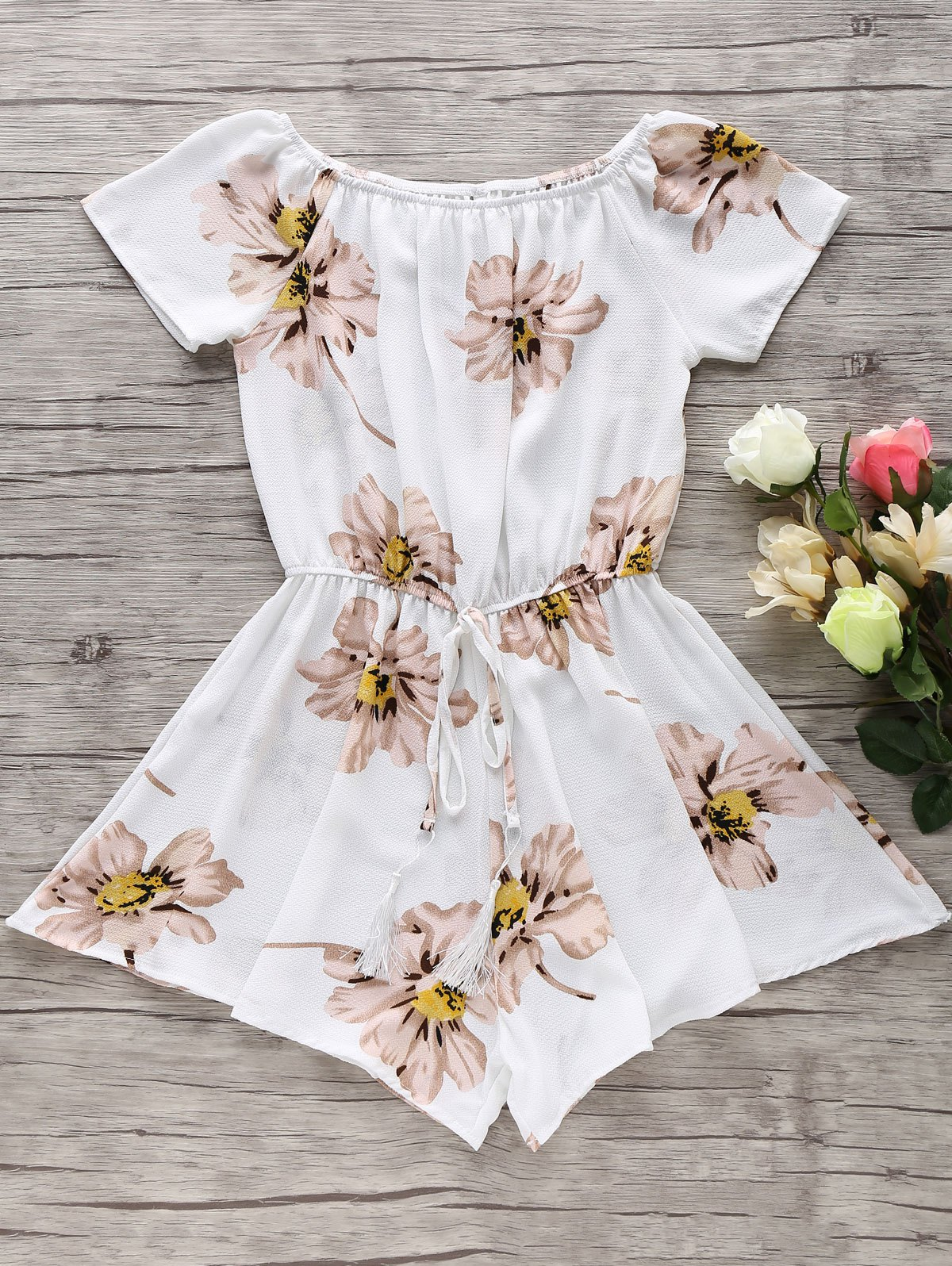 Off The Shoulder Floral Print Drawstring Romper