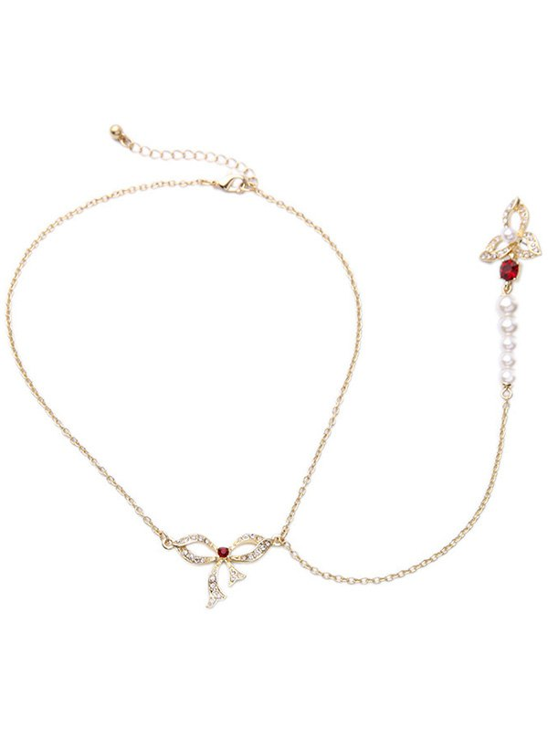 Rhinestone Bowknot Long Pendant Necklace