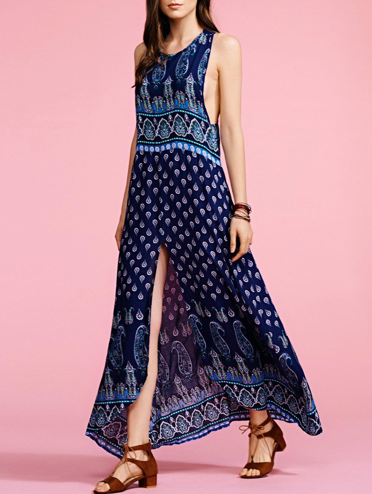 Round Neck Sleeveless Bohemian Print Maxi Dress