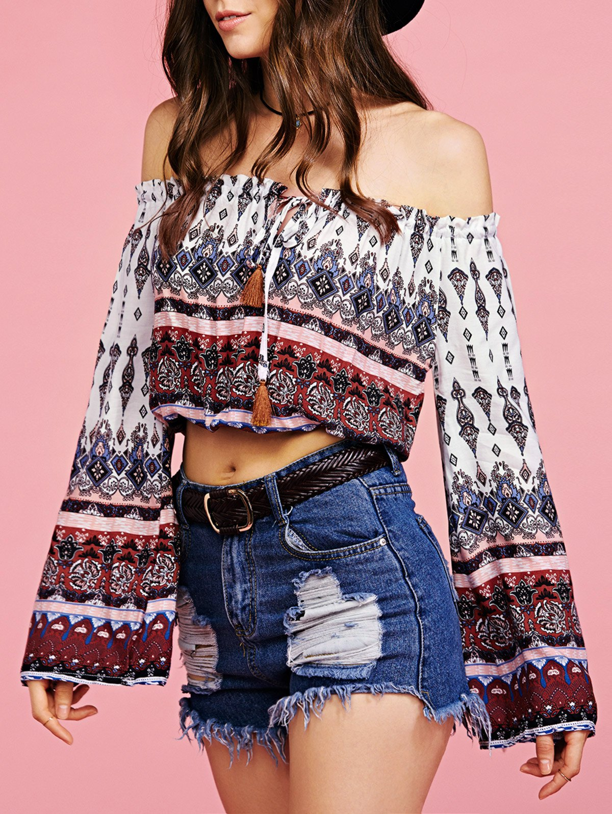 Off The Shoulder Long Sleeve Ethnic Print Cropped Blouse