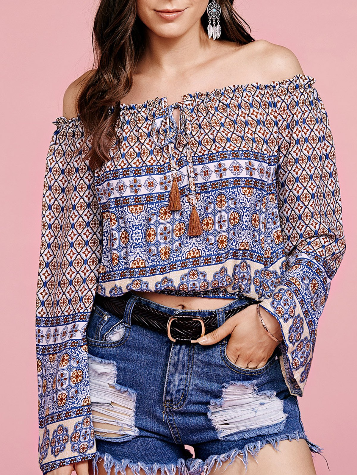 Off The Shoulder Long Sleeve Ethnic Printed Cropped Blouse