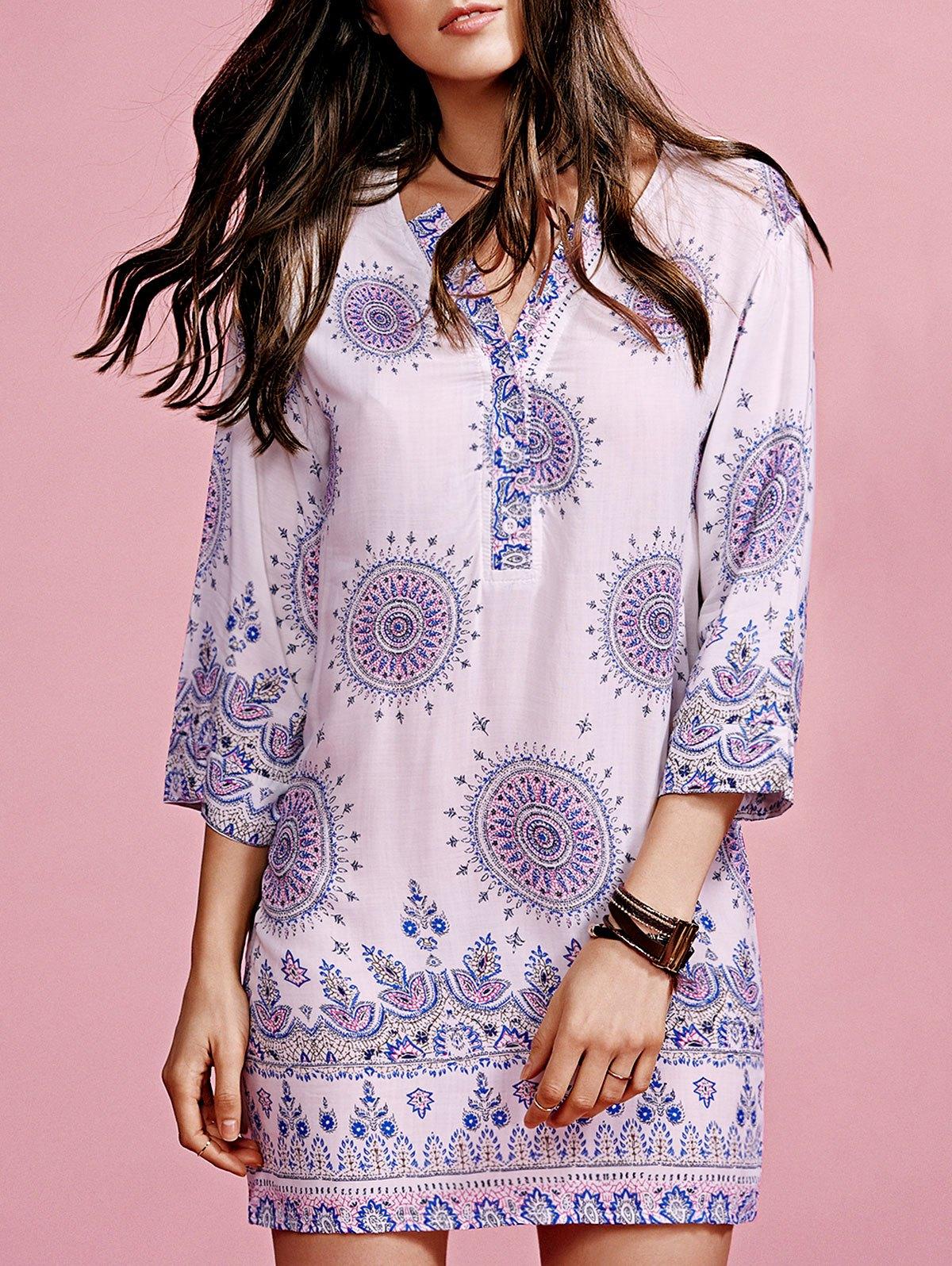 V-Neck 3/4 Sleeve Print Dress