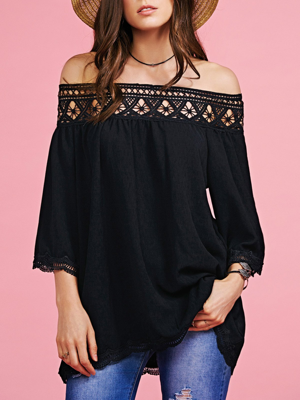 Off The Shoulder Lace Splice Blouse