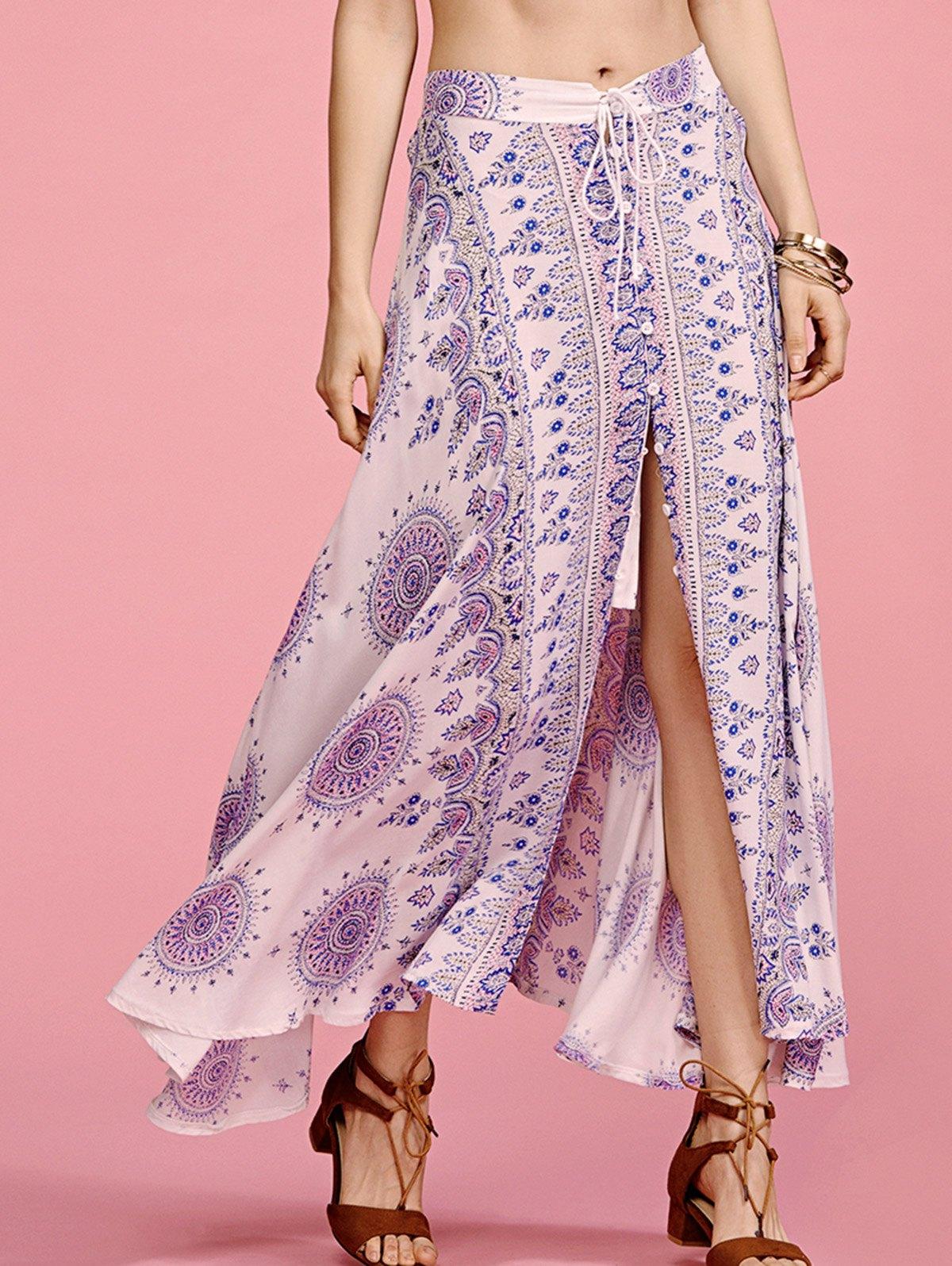High Waisted Ethnic Print Slit Skirt