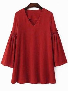 Solid Color V Neck Flare Sleeve Chiffon Dress - Jacinth M