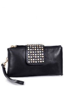 Rivet Zips Solid Color Clutch Bag - Black