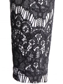 Lace Spliced Plunging Neck Dress - BLACK S