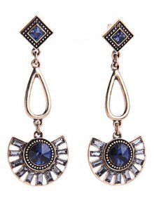 Faux Sapphire Fan-Shaped Earrings - Blue