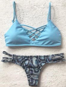 Printed Spaghetti Straps Bikini Set - Light Blue