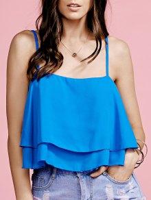 Ruffled Cami Pure Color Crop Top - Blue M