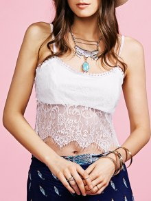 White Lace Spliced Cami Tank Top