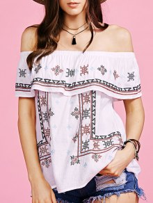 Ethnic Style Embroidery Off The Shoulder Blouse
