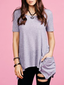 Irregular Hem Round Neck Pockets T-Shirt